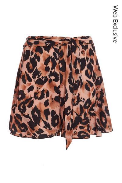 Brown Leopard Print Tie Belt Shorts